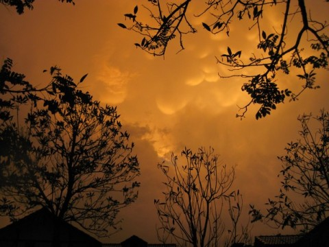 Twilit thunderclouds in the dusty suburbia of Whitefield, Bangalore, India